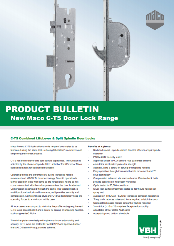 C-TS Combined Lift & Lever & Split Spindle Door Locks