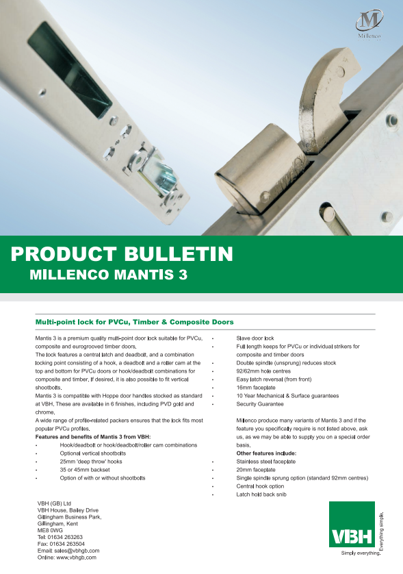 Mantis Multi-Point Lock for PVCu, Timber & Composite Doors