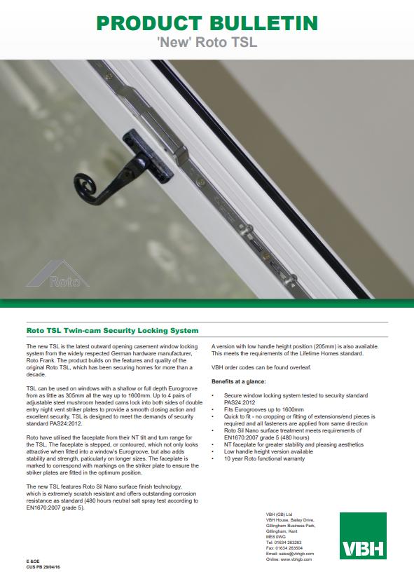 Roto TSL Twin Cam Security Locking System