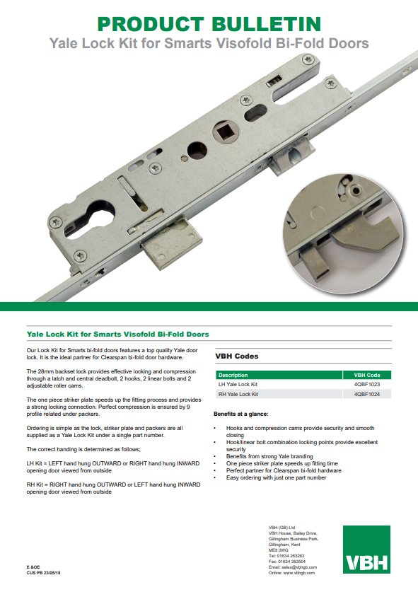 Yale Lock Kit for Smarts Visofold Bi-Fold Doors