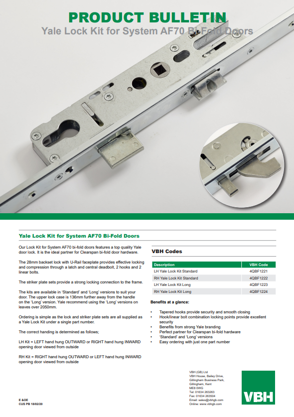 Yale Lock Kits for System AF70 Bi-Fold Doors