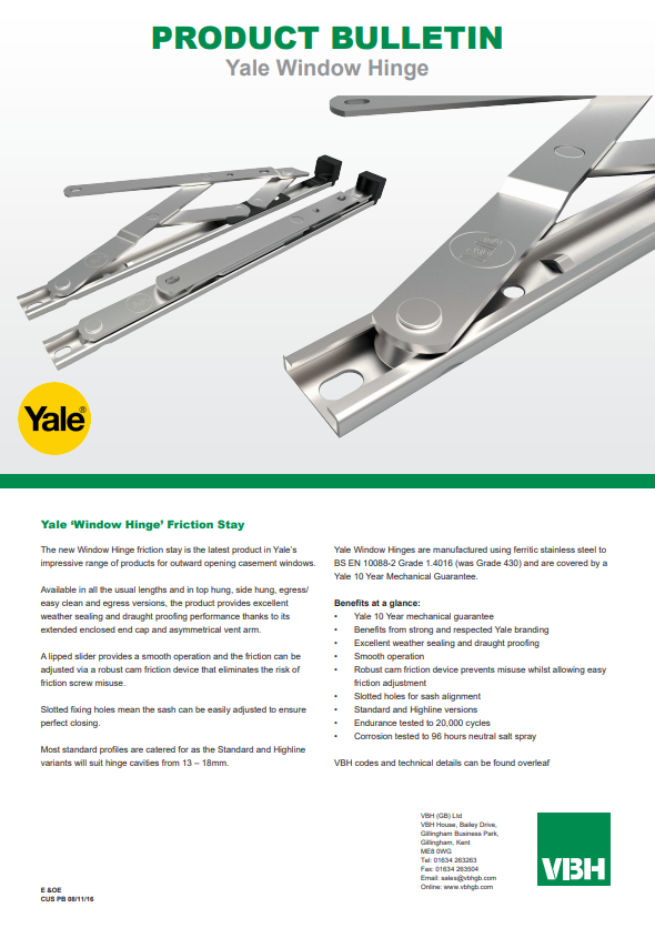 Yale Window Hinge Friction Stay