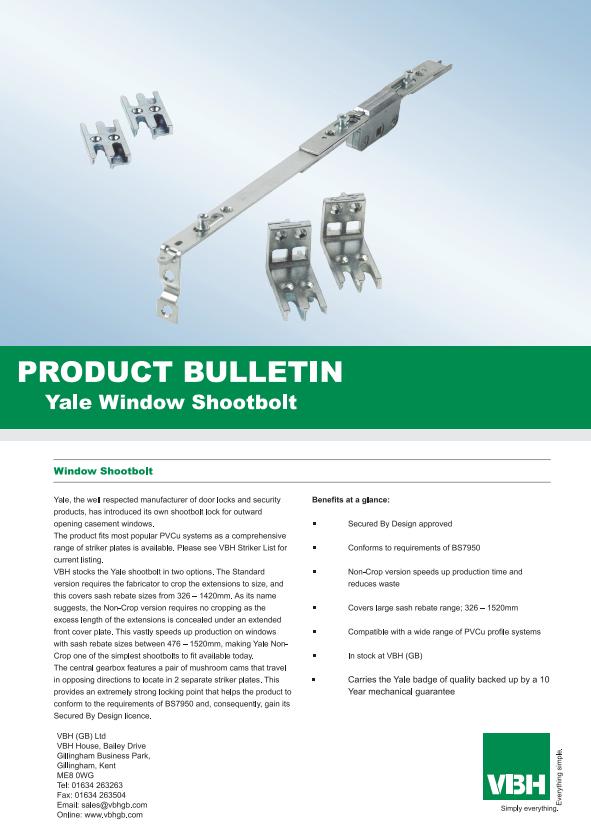 Yale Window Shootbolt