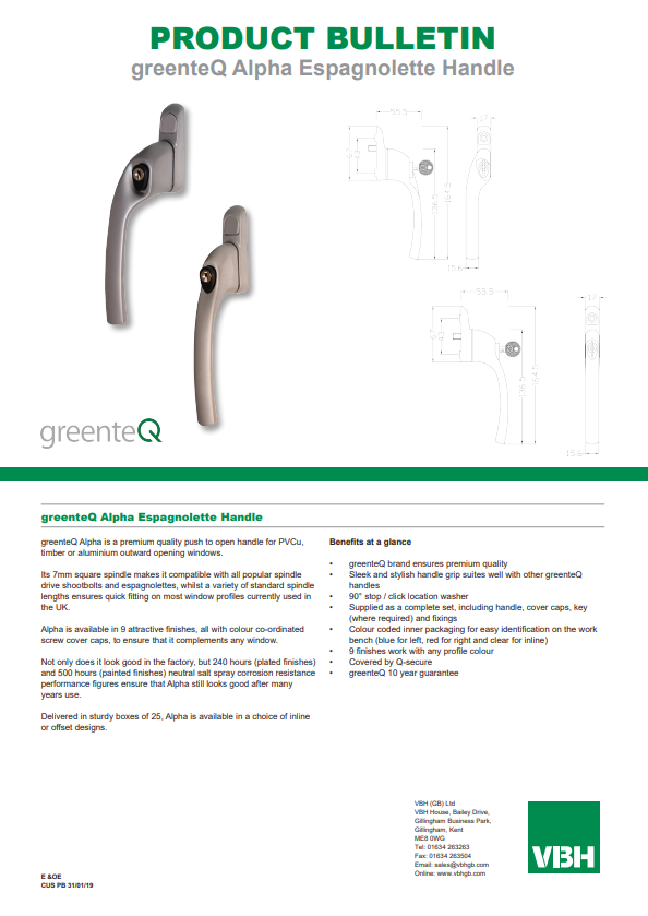 greenteQ Alpha Espagnolette Handle
