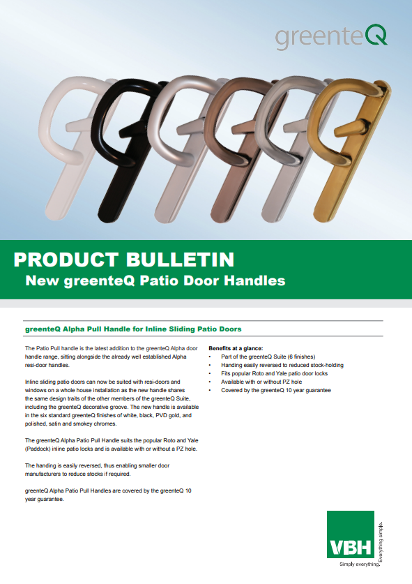 greenteQ Alpha Pull Handle for Inline Sliding Patio Doors