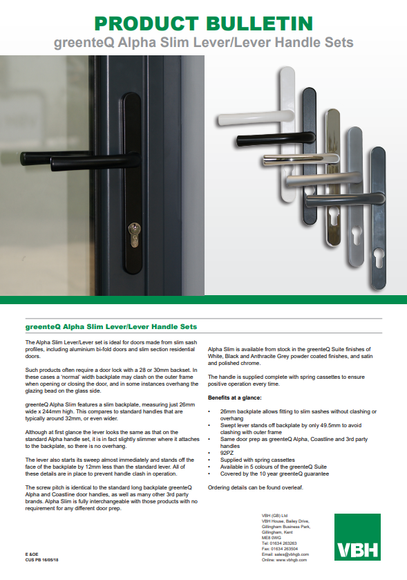 greenteQ Alpha Slim Lever & Lever Handle Sets