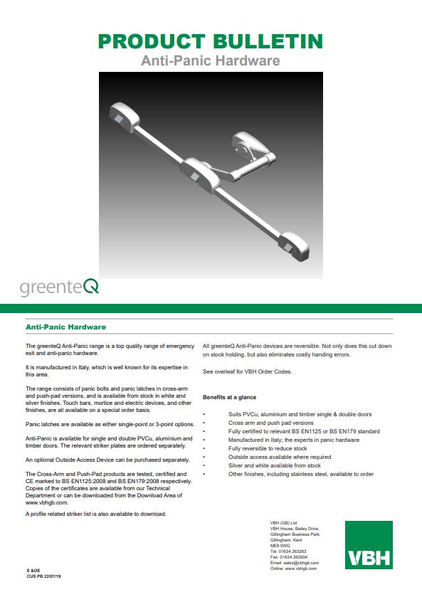 greenteQ Anti-Panic Hardware