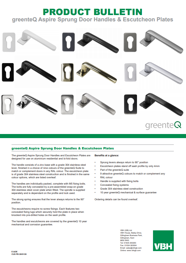 greenteQ Aspire Sprung Door Handles & Escutcheon Plates