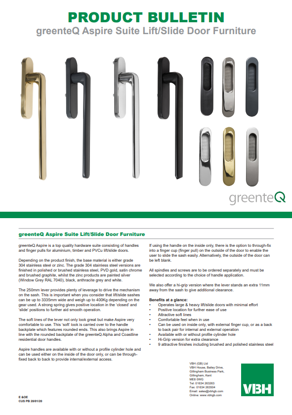 greenteQ Aspire Suite Lift & Slide Door Furniture