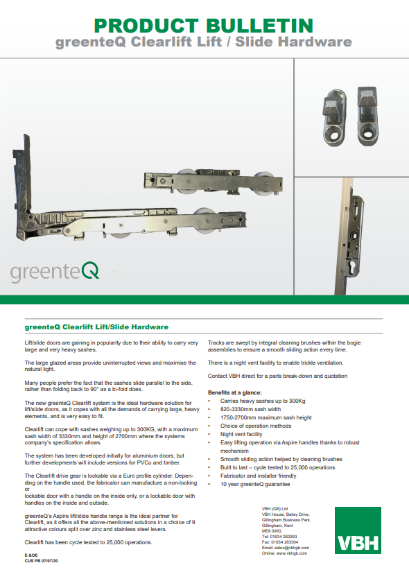 greenteQ Clearlift Lift & Slide Hardware
