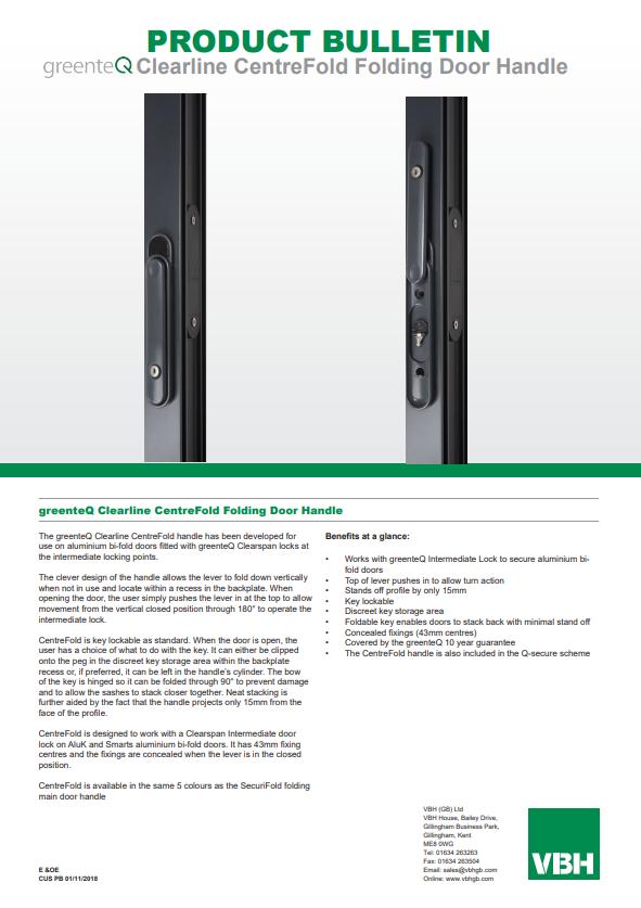 greenteQ Clearline CentreFold Folding Door Handle