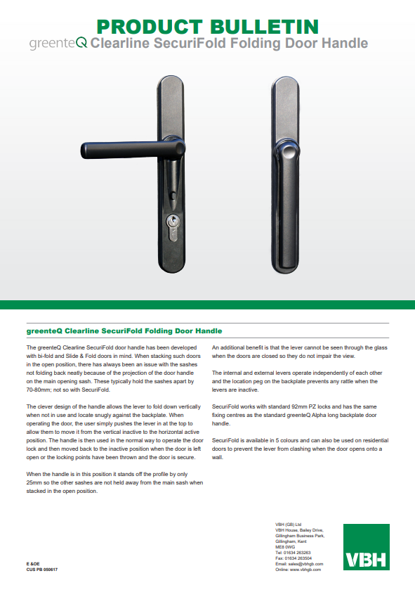 greenteQ Clearline SecuriFold Folding Door Handle