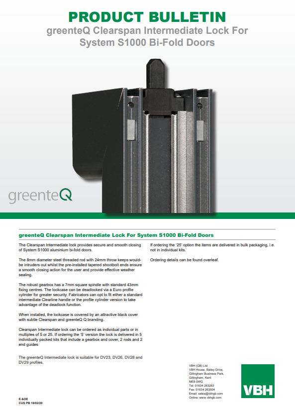greenteQ Clearspan Intermediate Lock For Systems S1000 Bi-Fold Doors