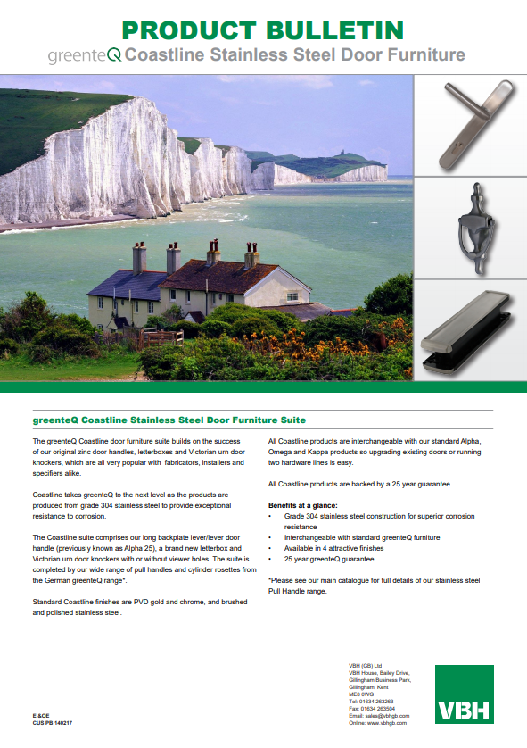 greenteQ Coastline Stainless Steel Door Furniture Suite