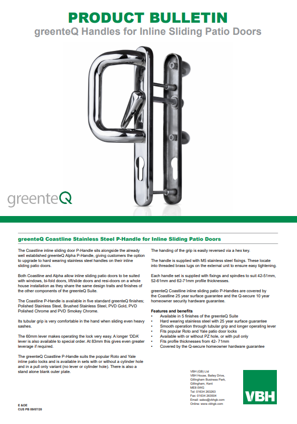 greenteQ Coastline Stainless Steel P-Handle for Inline Sliding Patio Doors