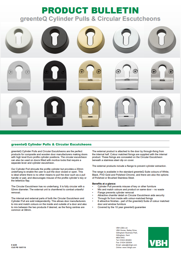 greenteQ Cylinder Pulls & Circular Escutcheons