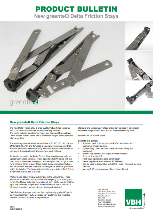 greenteQ Delta Friction Stays