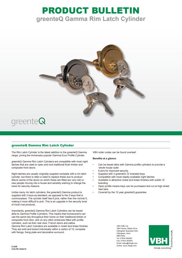 greenteQ Gamma Rim Latch Cylinder