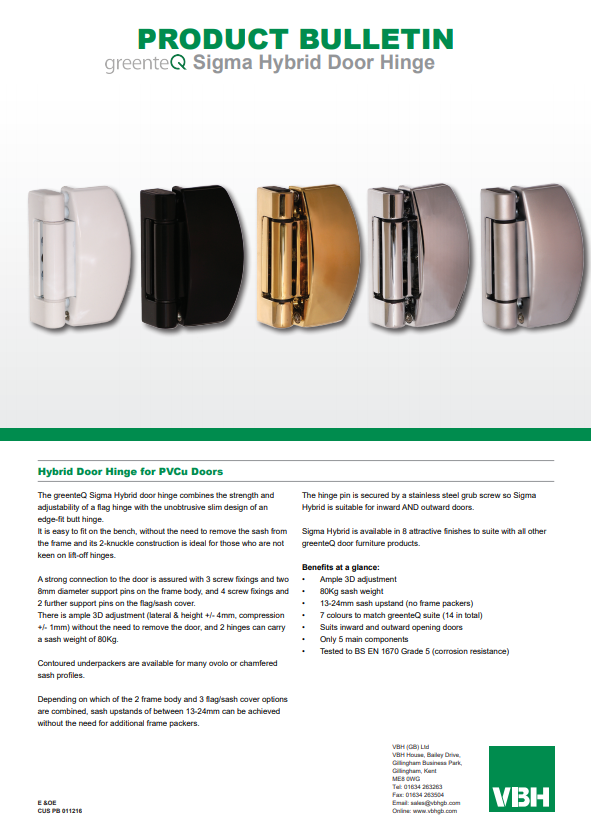 greenteQ Hybrid Door Hinge for PVCu Doors