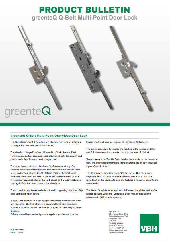 greenteQ Q-Bolt Multi-Point One-Piece Door Lock