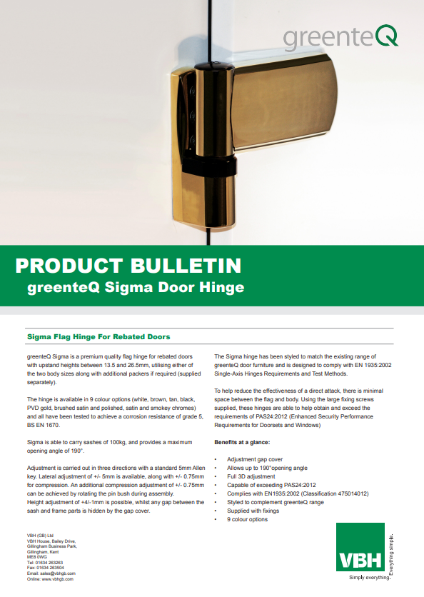 greenteQ Sigma Flag Hinge For Rebated Doors