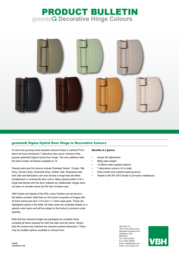 greenteQ Sigma Hybrid Door Hinge in Decorative Colours
