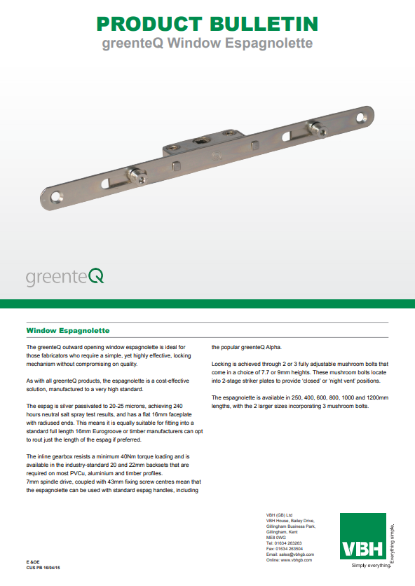 greenteQ Window Espagnolette