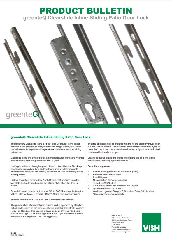 PB CUS greenteQ Clearslide Inline Sliding Patio Door Lock
