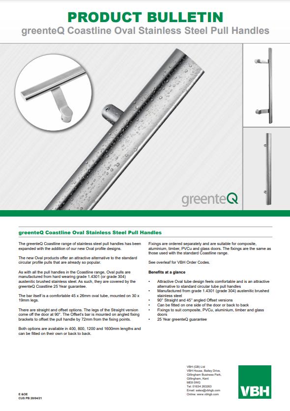 PB CUS greenteQ Coastline Oval Stainless Steel Pull Handles