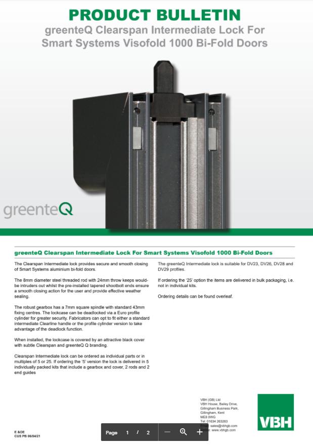 greenteQ Clearspan Intermediate Lock For Smart Systems Visofold 1000 Bi-Fold Doors