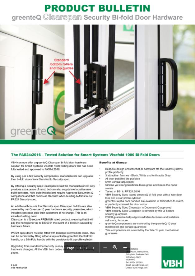 greenteQ Clearspan Security Bi-fold Door Hardware