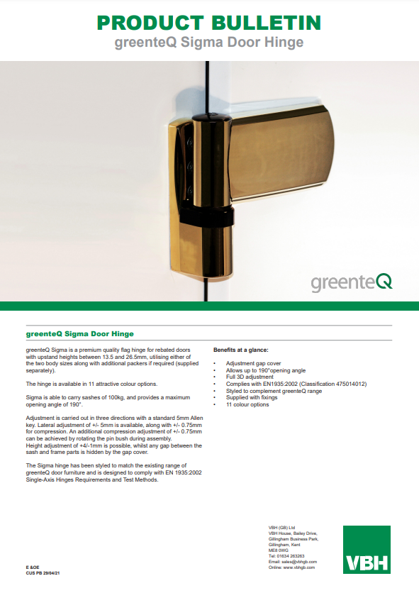 greenteQ Sigma Flag Hinge for Rebated Doors