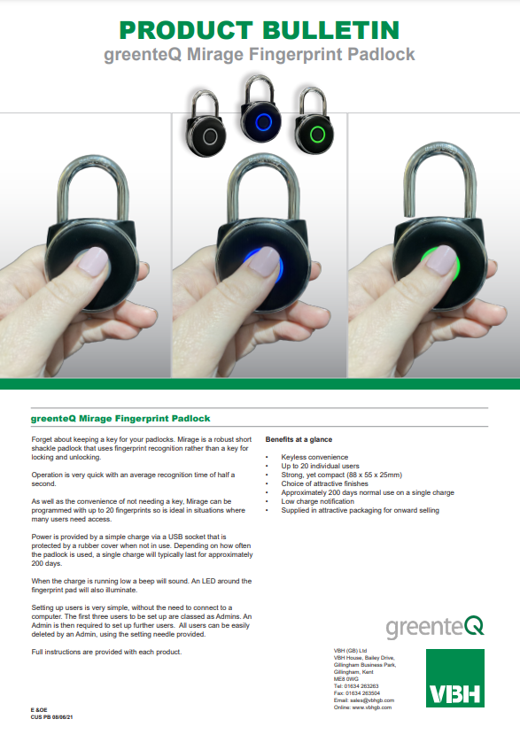 greenteQ Mirage Fingerprint Padlock