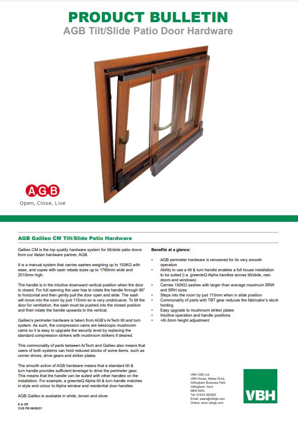AGB Galileo Tilt/Slide Patio Door Gear